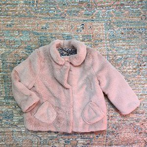 Zara Blush Pink Faux Fur Jacket | 2/3Y